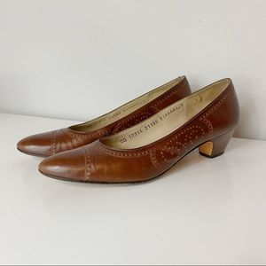 Salvatore Ferragamo perforated brown leather heels
